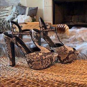 Bcbgeneration snakeskin peeptoe heels